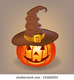 Good pumpkin in a witch hat for Halloween