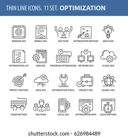 Good quality thin line icons set. Isolated elements on white background for your projects. Optimization and seo.