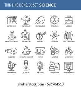 Good quality thin line icons set. Isolated elements on white background for your projects. Science and medicine.
