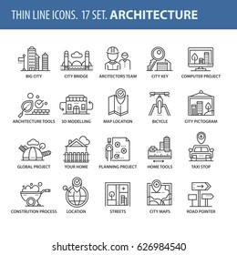 Good quality thin line icons set. Isolated elements on white background for your projects. Architecture