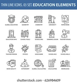 Good quality thin line icons set. Isolated elements on white background for your projects. Education and knowledge.