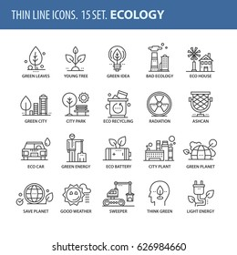 Good quality thin line icons set. Isolated elements on white background for your projects. Ecology and green city