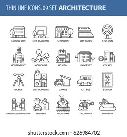 Good quality thin line icons set. Isolated elements on white background for your projects. City and architecture.