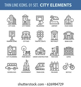 Good quality thin line icons set. Isolated elements on white background for your projects. City and streets.