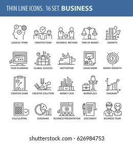 Good quality thin line icons set. Isolated elements on white background for your projects. Business and success.