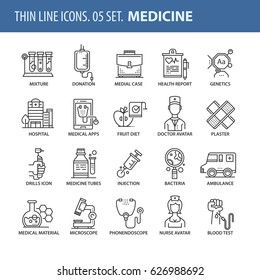 Good quality thin line icons set. Isolated elements on white background for your projects. Hospital and medicine.