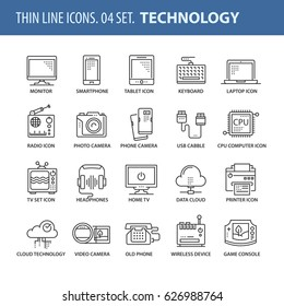 Good quality thin line icons set. Isolated elements on white background for your projects. Technology and devices.