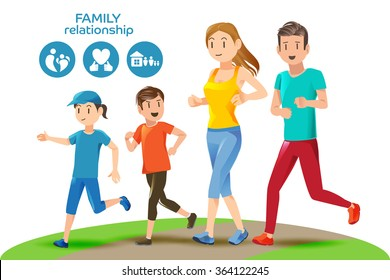 Good relations in family. Basic healthy care for people. Icons and character. Illustration for advertise running sport.