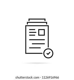 good review like thin line document. concept of no violations or vulnerables docs or legal business exam. linear flat style trend modern assessment logotype graphic simple art design isolated on white