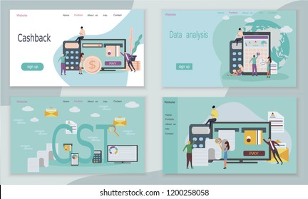 Good and Service Tax (GST) and cashback concept with finanical elements. It's web pages or templates. Credit card, calculator, bills, check are shown.