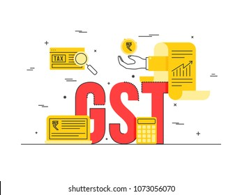 Good Service Tax (GST) concept with finanical elements.