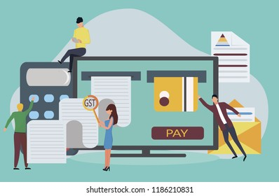 Good and Service Tax (GST) concept with finanical elements. Credit card, calculator, bills, check are shown.