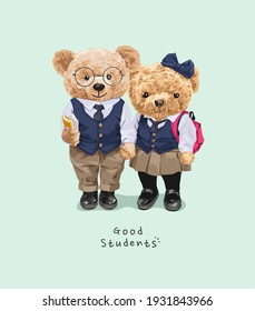 good students slogan with cute bear dolls couple in private school uniform illustration