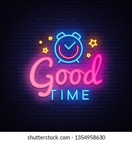Good Time neon sign vector. Good Time Design template neon sign, light banner, neon signboard, nightly bright advertising, light inscription. Vector illustration