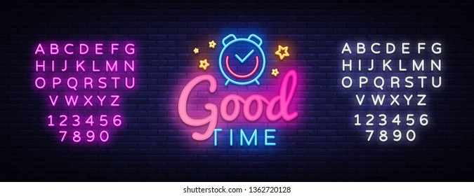 Good Time neon sign vector. Good Time Design template neon sign, light banner, neon signboard, nightly bright advertising, light inscription. Vector illustration. Editing text neon sign