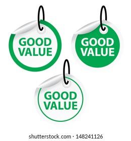 Good value tags. Vector