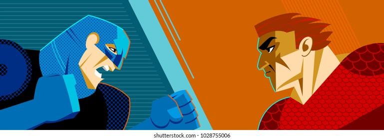 Good versus evil. Superhero. Superman. Confrontation of two people. Vector illustration