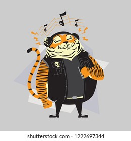 Good vibes tiger cartoon in punk style listening to rock music