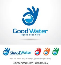 Good Water Logo Template Design Vector