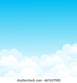 Good weather, clear sky. Vector background with clouds in the sky