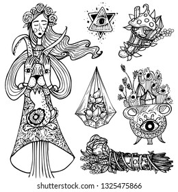 Good witch character. Wiccan community symbol. Vector doodle elements set