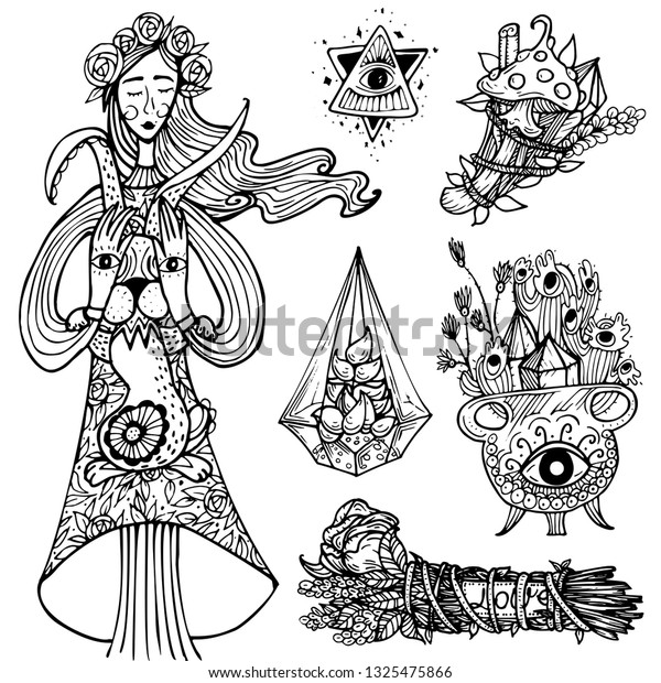Good Witch Character Wiccan Community Symbol Stock Vector