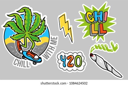 Good young set icon stickers with leaf of marijuana which chill and to ride a skateboard, jamb with weed, bubble 420, and cartoon yellow lightning Modern illustration for print pin patch t shirt