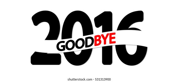 Goodbye 2016, design template, vector illustration