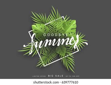Goodbye Summer banner tropical background. Summer season vector illustration