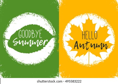 Goodbye summer. Hello autumn. Green  and Yellow colors. Maple fall leave
