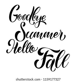 Goodbye summer hello fall lettering. Elements for invitations, posters, greeting cards. Seasons Greetings