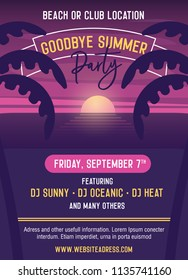Goodbye summer Party vector template illustration design. Easily editable with your text. Poster, banners, flyers, covers to advertise your event. Summer, vacations, holidays, nightlife.