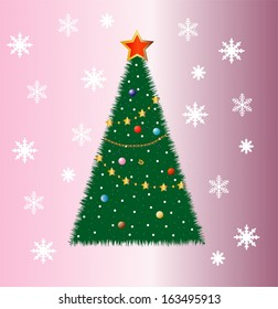 good-looking festive fir-tree on a pink background, vector illustration