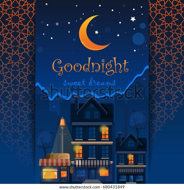 Goodnight Card Goodnight Sweet Dreams Night Stock Vector