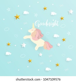 Goodnight with cute unicorn and cloud, star in the sky with blue background paper art style vector illustration.