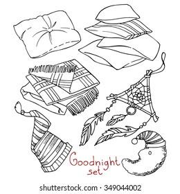 Goodnight set, hand-drawn design elements.