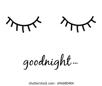 goodnight slogan and eyes vector.