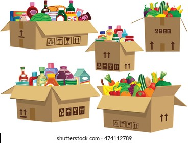 Goods in cardboard boxes.