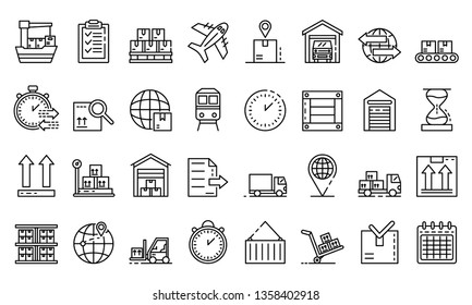 Goods export icons set. Outline set of goods export vector icons for web design isolated on white background