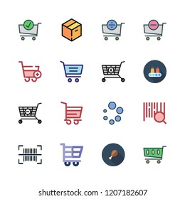 goods icon set. vector set about barcode, supermarket, warehouse and loading icons set.