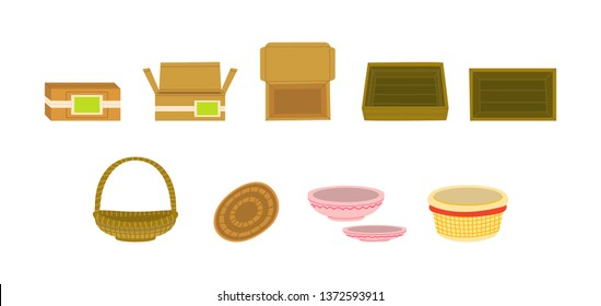 Goods packages flat vector illustration set. Wooden, cardboard vegetable boxes, trays. Fruits baskets, containers, crates for delivery, shipping. Storage, transportation of products. Isolated cliparts