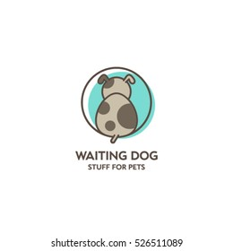 Goods for pets emblem. Waiting dog logo. Stuff for pets logo.