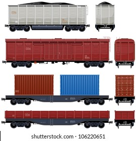 Goods Van  (Train #6) Pixel optimized. Elements are in the separate layers. In the side, back and front views.