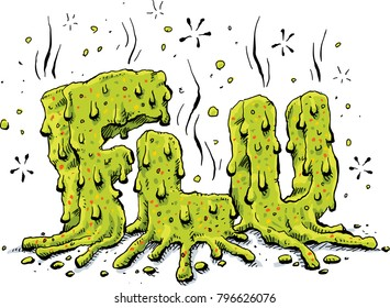 Gooey and gross cartoon text of the word FLU.
