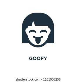 Goofy icon. Black filled vector illustration. Goofy symbol on white background. Can be used in web and mobile.