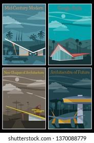 Googie Architectural Style Poster Mid Century Modern Magazine Covers Imitation