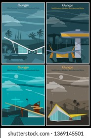 Googie Architecture Mid Century Modern Retro Future Posters Set