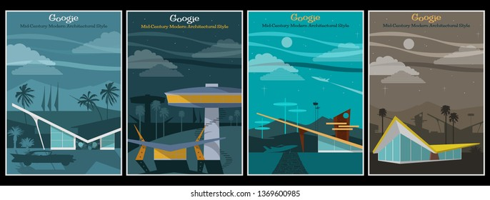 Googie Architecture Poster Mid Century Modern Style