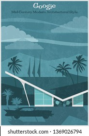 Googie Mid Century Modern Architectural Style Poster Vintage Colors