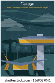 Googie Mid Century Modern Architectural Style Vintage Colors, Retro Futurism Poster